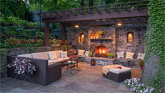 Outdoor fire place and patio area at Westchester County home