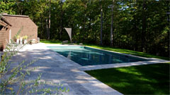 Pool deck and salt water swimming pool