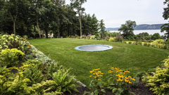 inground trampoline and gardens in along the Hudson