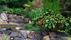 Garden containers and stone walls in Westchester County